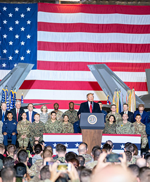 President Trump speaking to the Military.
