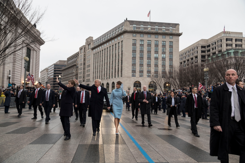 The President and First Lady walk in the Inaugural Parade.