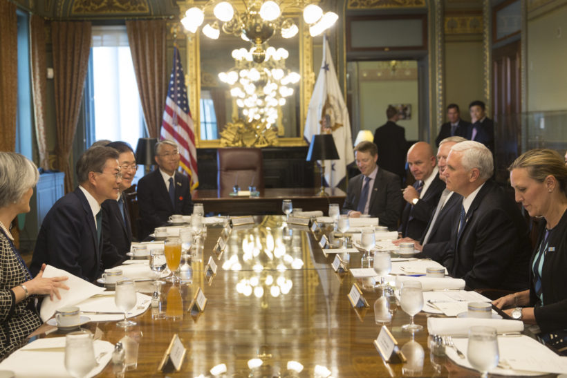 Vice President Mike Pence has lunch with South Korean President Moon Jae-in, in his Ceremonial Office at the Eisenhower Executive Office Building, at the White House, Friday, June 30, 2017, in Washington, D.C. (Official White House Photo by D. Myles Cullen)