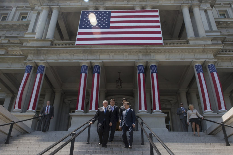 Vice President Mike Pence walks down the Navy Steps of the Eisenhower Executive Office Building at the White House, Friday, June 30, 2017, with South Korean President Moon Jae-in, in Washington, D.C. (Official White House Photo by D. Myles Cullen)