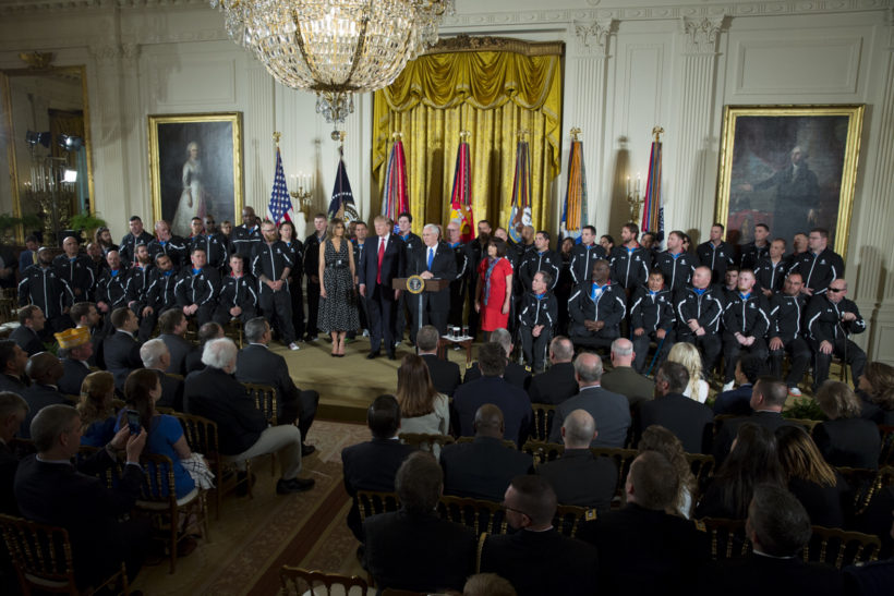 Retired service members gather at the White House