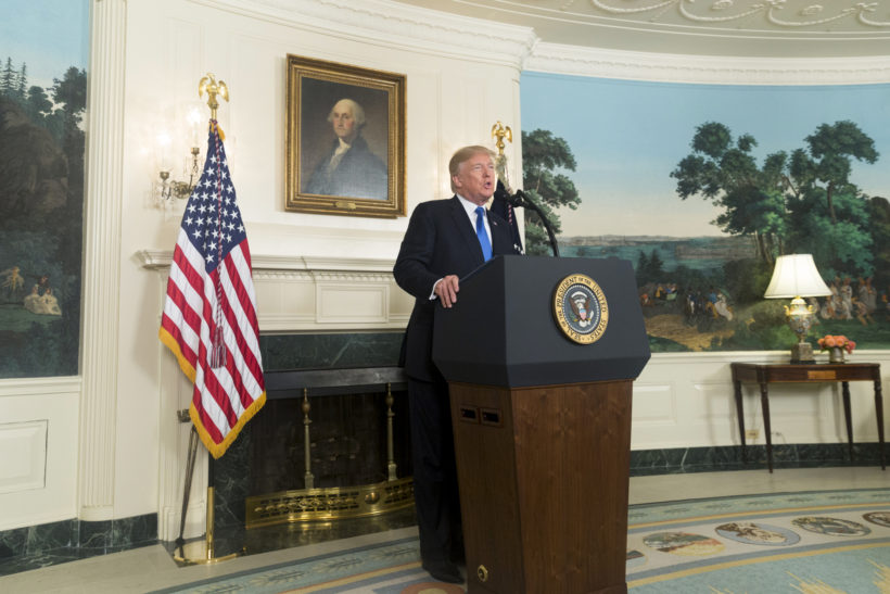 President Donald J. Trump delivers remarks on the Iran Strategy in the Diplomatic Reception Room at the White House, Friday, October 13, 2017. In Washington, D.C. (Official White House Photo by D. Myles Cullen)