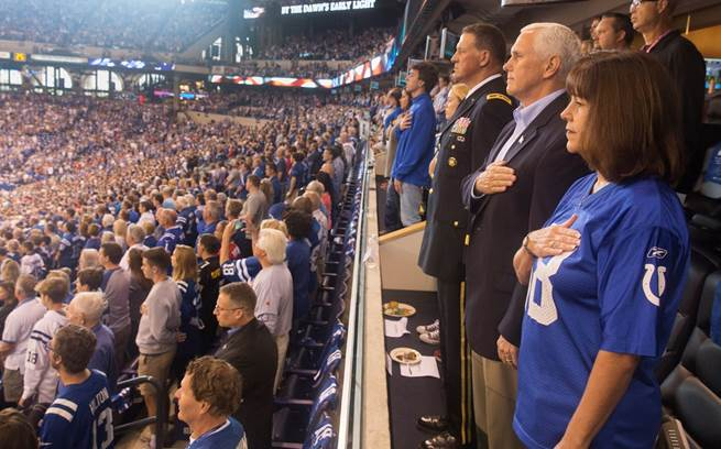 Vice President Mike Pence during the singing of the National Anthem at Lucas Oil Stadium