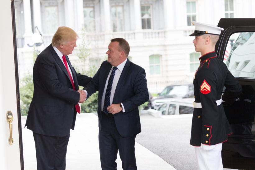 President Donald J. Trump welcomes Prime Minister LarsLokkeRasmussen of Denmark to the White House