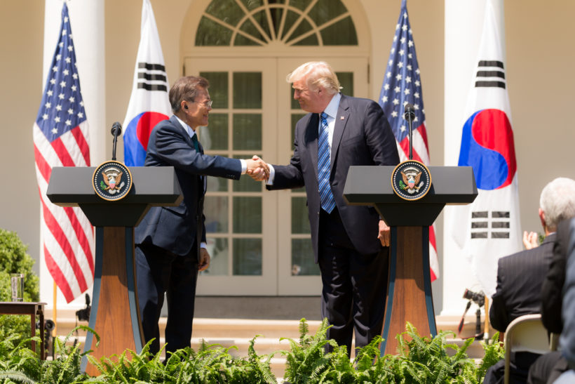 President Donald J. Trump and President Moon Jae-in of the Republic of Korea participate in joint statements on Friday, June 30, 2017, in the Rose Garden of the White House in Washington, D.C. (Official White House Photo by Shealah Craighead)