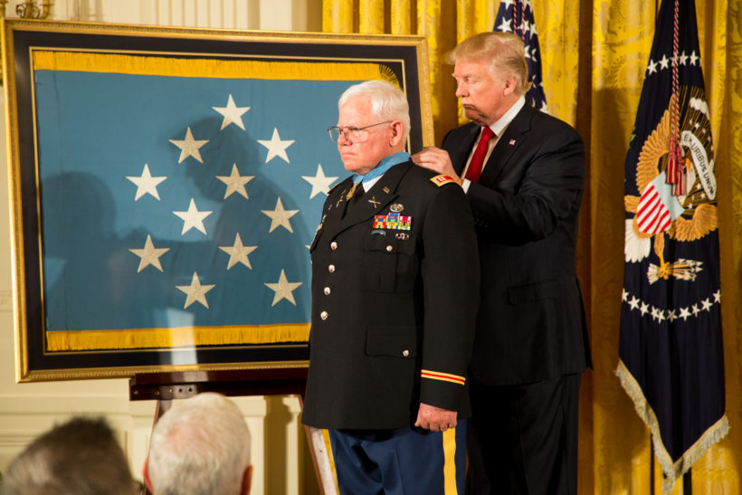 President Donald J. Trump participates in the Presentation of the Medal of Honor Monday, October 23, 2017, in the East Room of the White House in Washington, D.C. (Official White House Photo by Shealah Craighead)