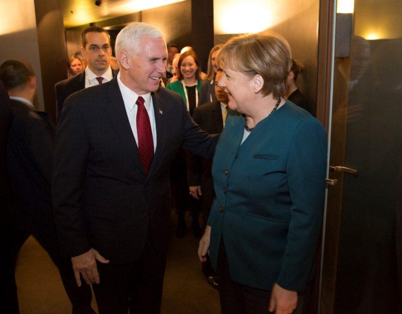 Vice President Pence with German Chancellor Angela Merkel