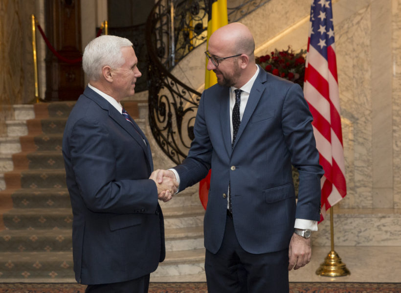 Vice President Pence with Belgian Prime Minister Charles Michel