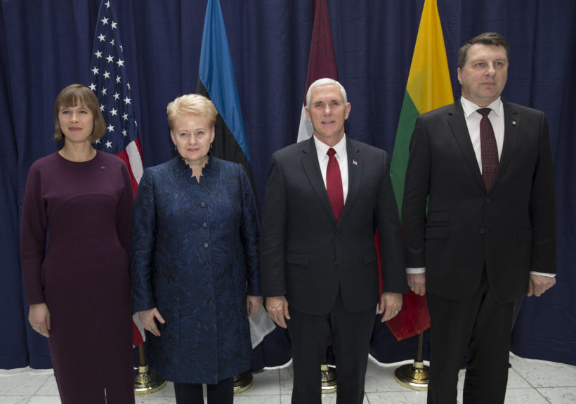 Vice President Pence with Lithuanian President Dalia Grybauskaite, Latvian President Raimonds Vejonis, and Estonian President Kersti Kaljulaid