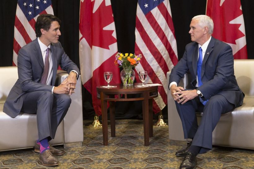 Vice President Mike Pence and Canadian Prime Minister Justin Trudeau