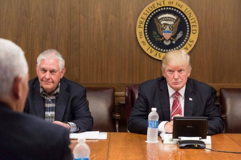 President Donald J. Trump, joined by Vice President Mike Pence and members of the Cabinet, participates in a Cabinet meeting, Saturday, September 9, 2017 in Laurel Lodge at Camp David near Thurmont, MD, discussing the projected track and potential impact of Hurricane Irma as it approaches the coast of Florida.