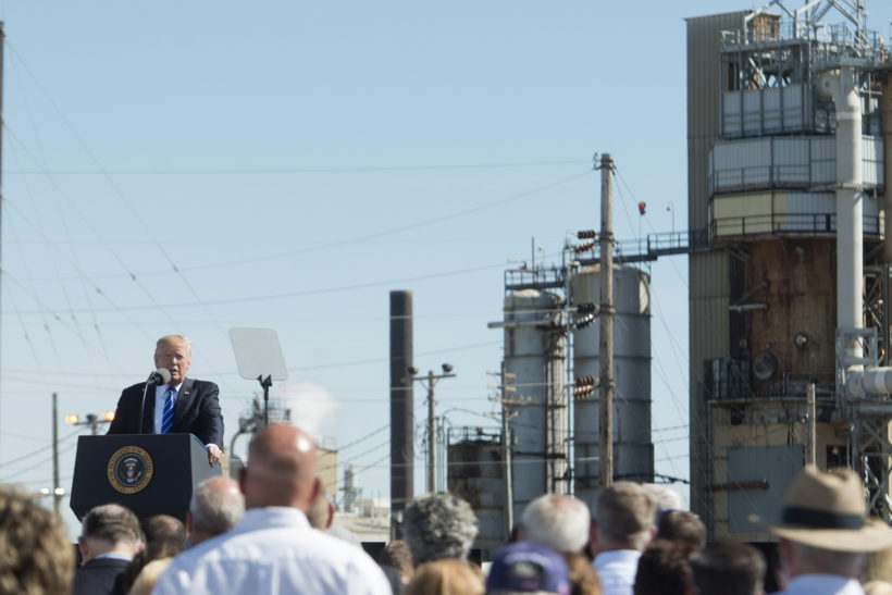 President Donald J. Trump attends a tax reform for energy workers event at Andeavor Refinery, Wednesday, September 6, 2017, in Mandan, North Dakota. (Official White House Photos by D. Myles Cullen)