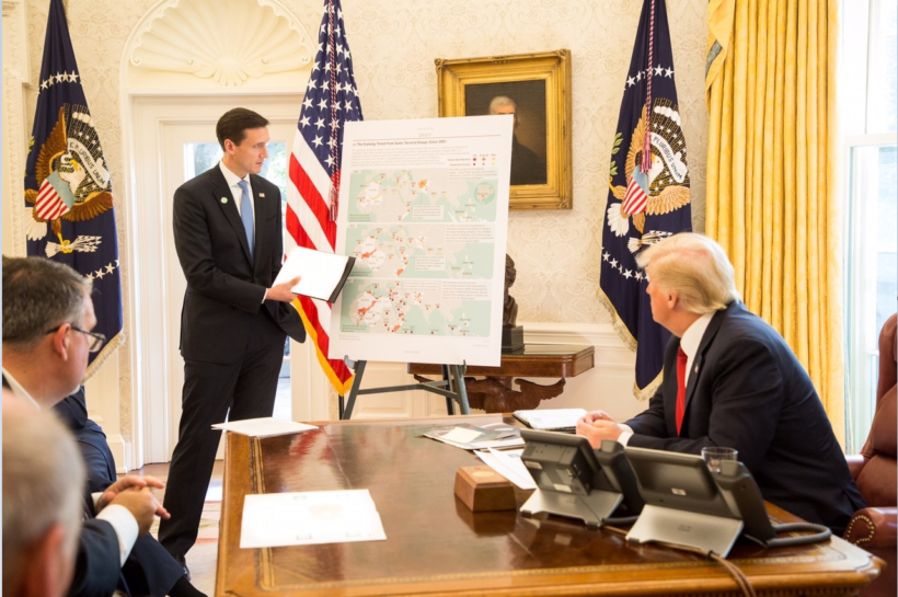 President Donald J. Trump receives his 9/11 counterterrorism briefing, Monday, Sept. 11, 2017, by Homeland Security and Counter Terrorism Adviser Thomas Bossert and members of his National Security Council team, in the Oval Office at the White House in Washington, D.C.