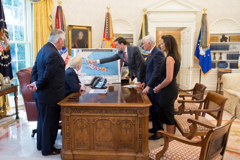 President Donald J. Trump participates in an Oval Office briefing tracking the approach of Hurricane Irma toward the coast of Florida, Thursday, September 7, 2017, at the White House in Washington, D.C., joined by U.S. Secretary of State Rex Tillerson, left; Homeland Security and Counterterrorism Adviser Thomas Bossert; Vice President Mike Pence and Deputy National Security Adviser Dina Powell (Official White House Photo by Andrea Hanks)