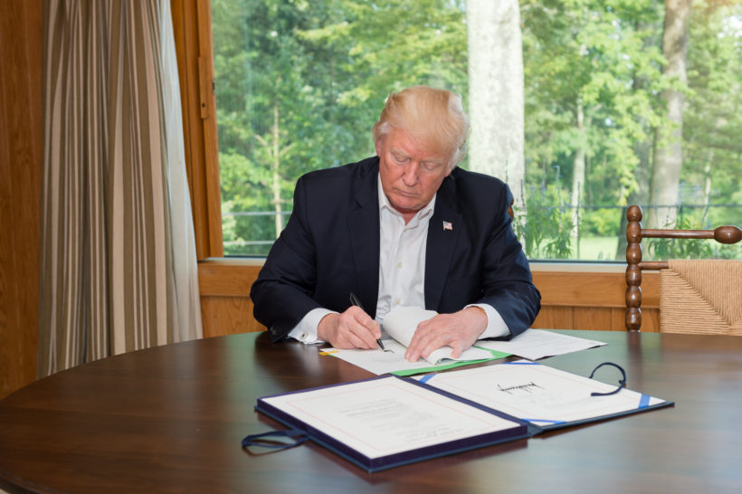 President Donald J. Trump signs the Hurricane Harvey Funding Bill, H.R. 601.