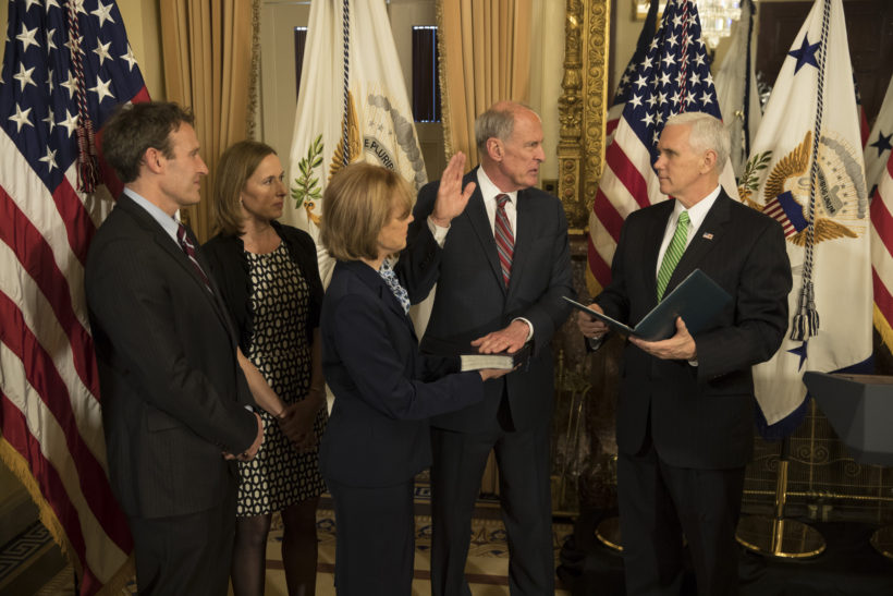 VP Swears in Director of National Intelligence Dan Coats