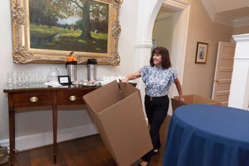 Second Lady Karen Pence participates in an art therapy service project.