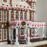 The gingerbread house is made of more than 100 pounds of gingerbread, candy, and icing.