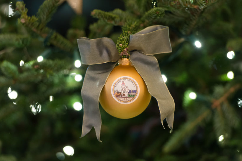 Christmas ornaments of the District of Columbia and the state of New York are just two of the decorations of the official White House Christmas tree in the Blue Room of the White House, recognizing the 50 states and U.S. territories.