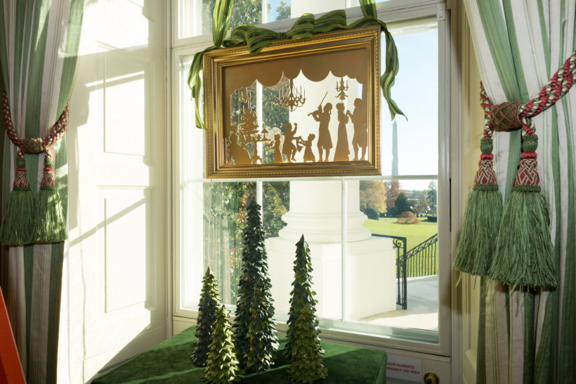 A White House window Christmas decoration is seen at the White House, November 26, 2017, in Washington, D.C.