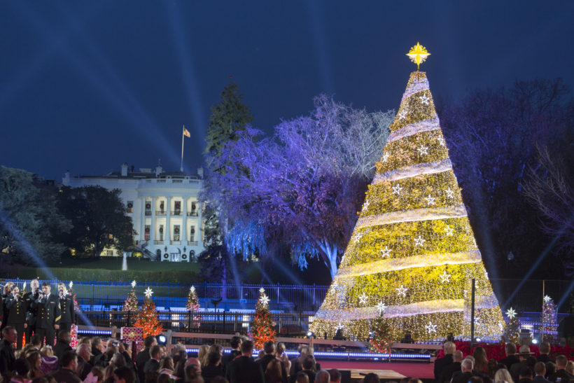 The 2017 National Christmas Tree Lighting ceremony, attended by President Donald J. Trump and First Lady Melania Trump, on the Ellipse, Thursday, November 30, 2017, in Washington, D.C. This year the National Christmas Tree Lighting ceremony celebrates its 95th year.