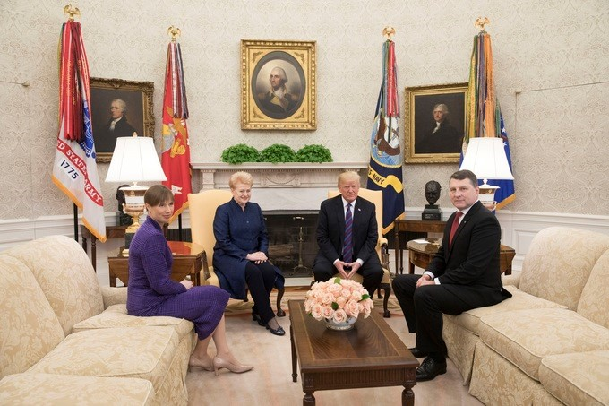 President Donald J. Trump welcomes Baltic State Presidents, from left to right, Kersti Kaljulaid of Estonia; Dalia Grybauskaite of Lithuania and Raimonds Vejonis of Latvia to the Oval Office, Tuesday, April 3, 2018, at the White House in Washington, D.C.