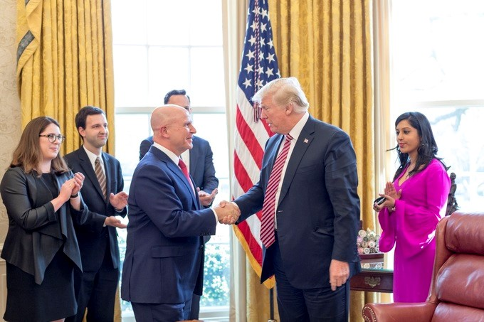 President Donald J. Trump shakes hands with National Security Adviser Lt. Gen. H.R. McMaster, Friday, April 6, 2018, in the Oval Office at the White House, to bid farewell to McMaster, who tendered his resignation from his post last month.