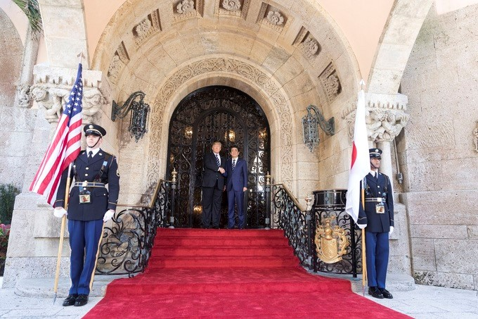 President Donald J. Trump welcomes Japanese Prime Minister Shinzo Abe to Mar-a-Lago, Tuesday, April 17, 2017, for the start of two days of meetings in Palm Beach, Florida.