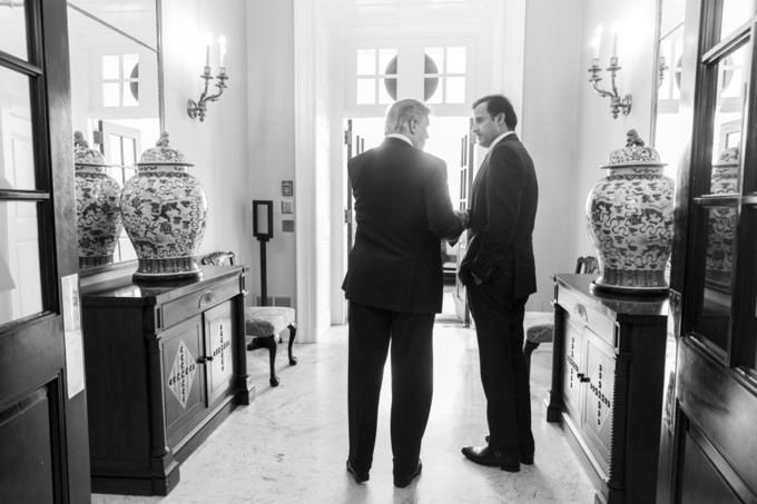 President Donald J. Trump bids farewell to the Amir of the State of Qatar Sheikh Tamin Bin Hamad Al Thani in the West Wing Lobby Entrance at the White House, Tuesday, April 10, 2018, in Washington, D.C.