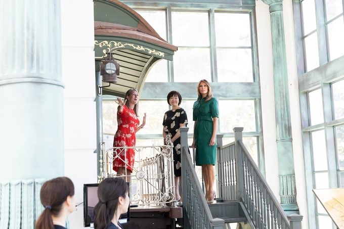 First Lady Melania Trump and Mrs. Akie Abe, wife of Japanese Prime Minister Shinzo Abe, tour the Henry Flagler Museum, Wednesday, April 18, 2018, in Palm Beach, Florida. The 120-year-old Gilded Age estate, known as Whitehall, was built in 1902 by Henry Morrison Flagler.