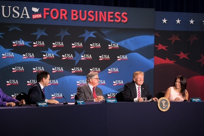President Donald J. Trump addresses a roundtable discussion with small business owners on tax cuts and tax reform at Bucky Dent Park, Monday, April 16, 2018, at Florida National University campus in Hialeah, Florida.
