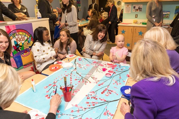 Mrs. Karen Pence participates in an art therapy session at Children's National Health System, joined by Senate Spouses, Tuesday, April 17, 2018 in Washington, D.C.