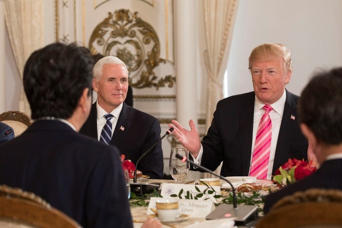 President Donald J. Trump, joined by Vice President Mike Pence, attends a working luncheon, Wednesday, April 18, 2018, addressing Japanese Prime Minister Shinzo Abe and his delegation in the gold and white room at Mar-a-Lago, in Palm Beach, Florida.