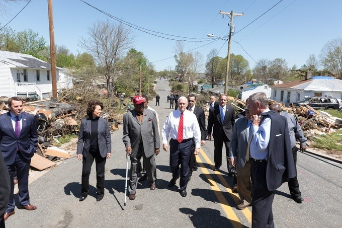 Vice President Mike Pence tours tornado damage, and is joined by Secretary of Transportation Elaine Chao, Friday April 20, 2018 in Greensboro, North Carolina.
